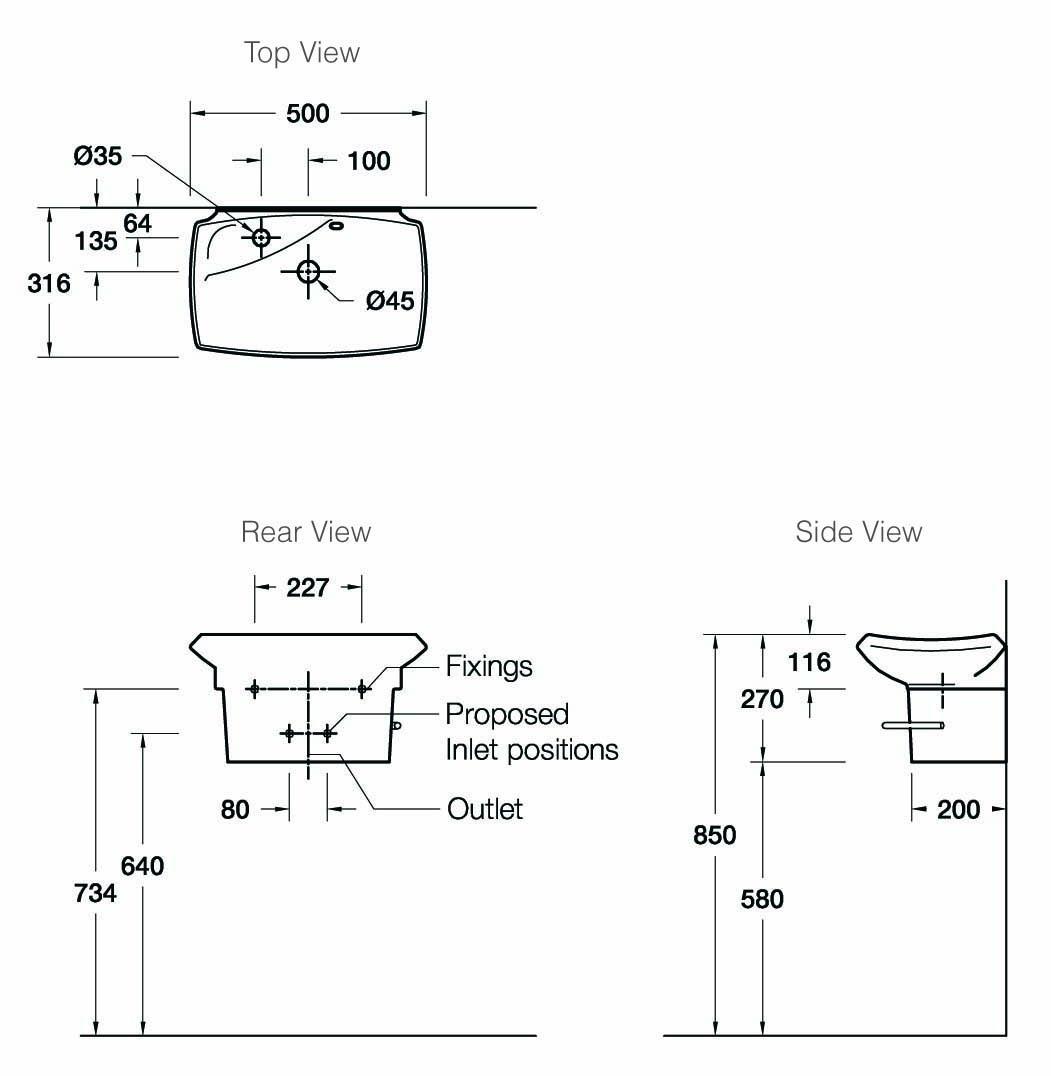 escale 500mm wall-mount wash basin